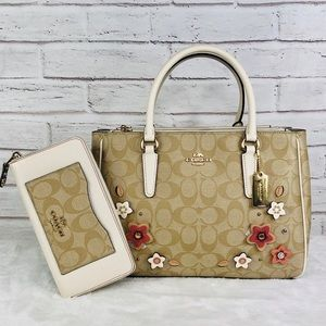 2PCS Coach Surrey Floral Carryall Bag Wallet Set